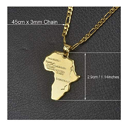 9 Style Africa Map Pendant Necklace for Women Men Silver Gold Color Statement Jewelry Party Gift 45cm by 3mm Chain