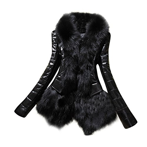 Fur Collar Coat Leather Thick Jacket Overcoat Parka ()