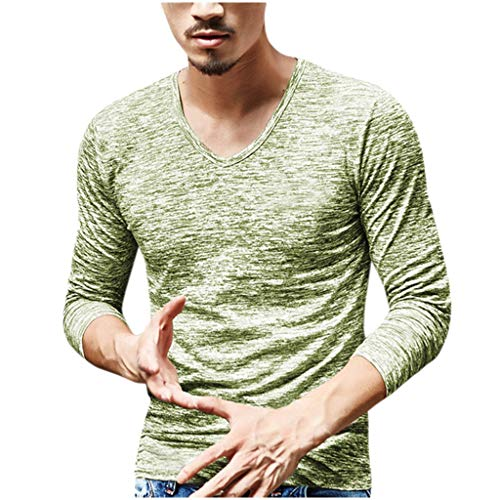 Stoota Men's Solid Color V-Neck Long Sleeve T-Shirts, Casual Soft Slim Fit Lightweight Blouse Simple Design L-3XL