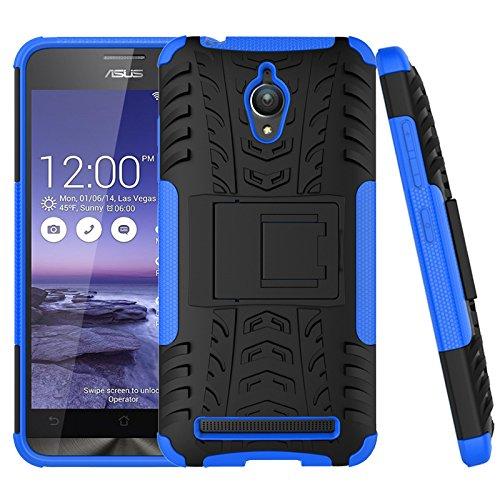 Voguecase® Para Asus Zenfone Go ZC500TG, Funda Carcasa Duro Tapa Case Cover con soporte (azul-Soporte) + Gratis aguja de la pantalla stylus ...