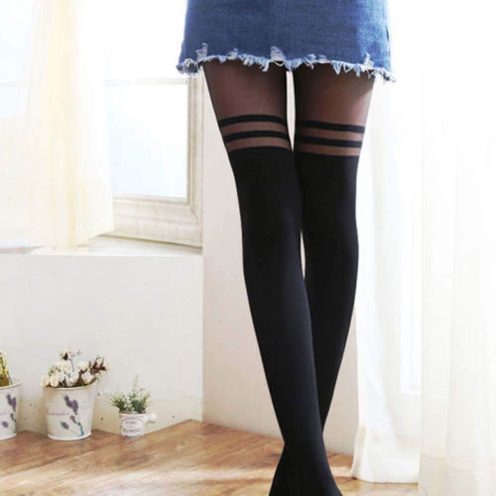 Color : Black, tama/ño : One Size JINYANG Calcet/ín Femenino Atractivo Longtube Medias Medias Medias de Gasa Fina Color de la Piel