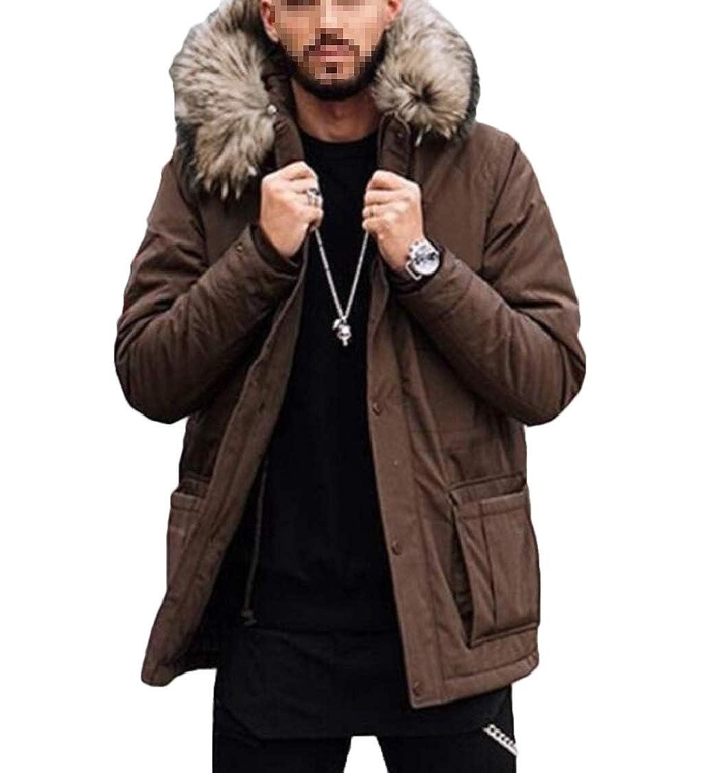 Nanquan Men Pockets Faux Fur Collar Hoodie Warm Quilted Down Parka Coat