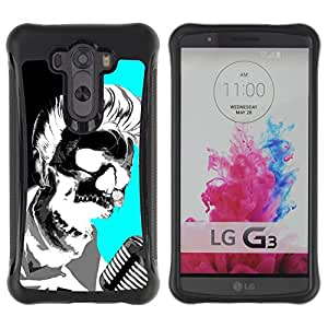 Lady Case@ Elvis Music Rock Roll Microphone Skull Rugged Hybrid Armor Slim Protection Case Cover Shell For LG G3 D858