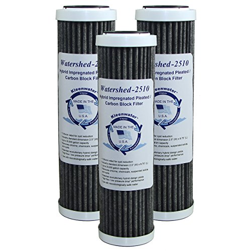 KleenWater Watershed2510 Hybrid Pleated / Carbon Block Whole House Water Filters, 2.5 x 10 Inch (3) - Unsurpassed Filtration - Dirt, Rust, Sediment, Chlorine, Cysts and ()
