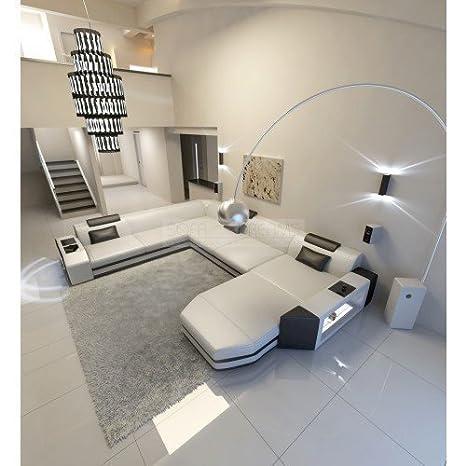 Conjunto de Muebles Para Salón Cuero Sofá Prato XXL Blanco ...