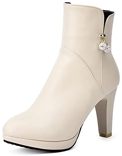 Women's Sexy Rhinestone Beads Round Toe Booties Side Zipper Chunky High Heel Platform Ankle Boots
