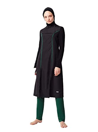 780647620a Turkish Muslim Women Unlined Fully Covered Swimsuits Islamic Hijab Modesty  Swimsuit Costume (S)