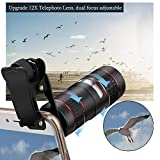 Phone Camera Lens, KNGUVTH 5 in 1 Cell Phone Lens Kit - 12X Zoom Telephoto Lens + Fisheye Lens + Super Wide Angle Lens+ Macro Lens (2 Lens) for iPhone X XS Max XS XR/8/7/6/6s Plus Samsung Andriod