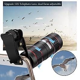 Phone Camera Lens, KNGUVTH 5 in 1 Cell Phone Lens Kit – 12X Zoom Telephoto Lens + Fisheye Lens + Super Wide Angle Lens…