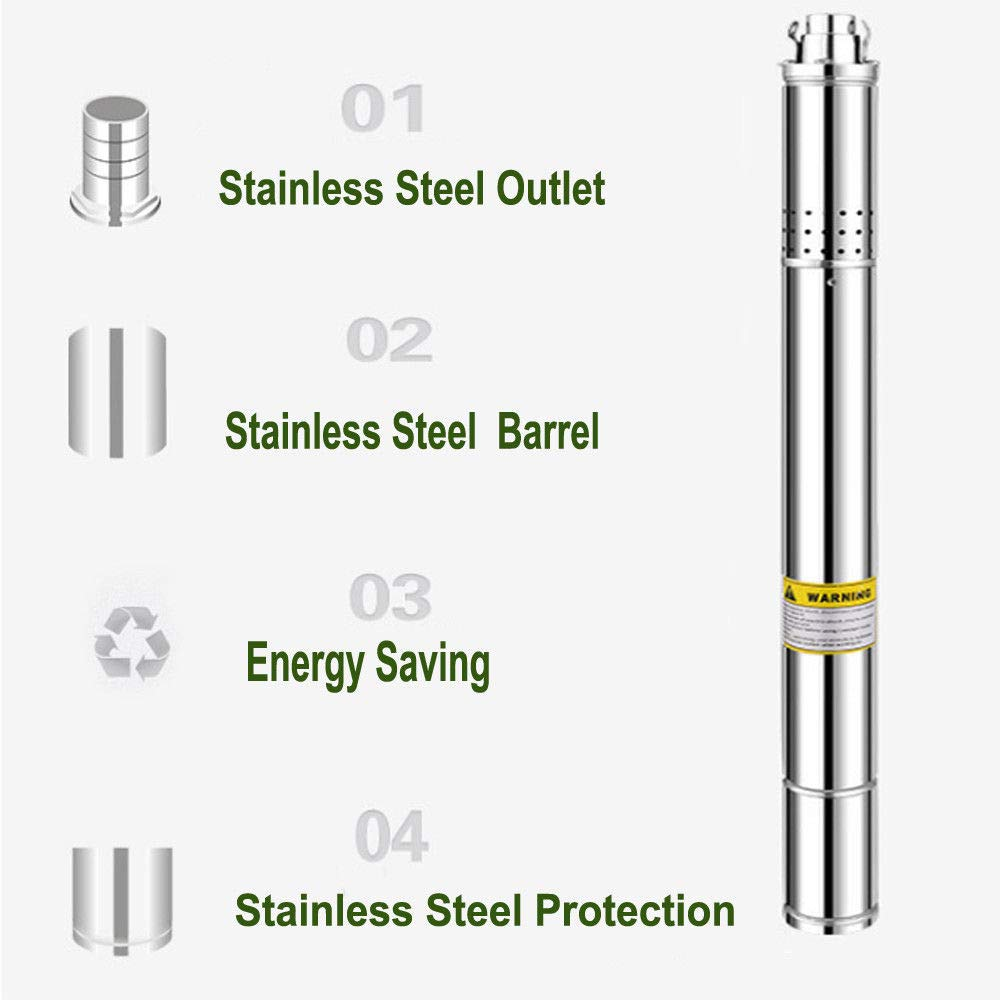 ECO LLC 240V 1/2 HP Stainless Steel 2'' Submersible Bore Pump Deep Well Pump for Farm Irrigation by ECO LLC (Image #6)