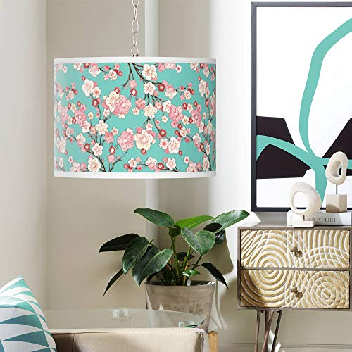 Swag Style Cherry Blossoms Giclee Shade Plug-in Chandelier - Giclee Gallery - Giclee Cherry Blossoms
