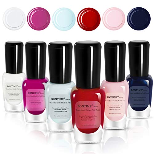 (BONTIME Non-Toxic Nail Polish - Easy Peel Off & Quick Dry, Organic Water Based Nail Polish Set for Women,Teens,Kids(6 Colors,0.28 fl oz))