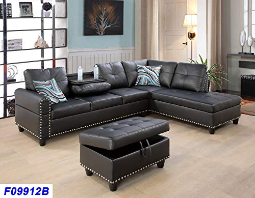 Beverly Fine Funiture F09912B-3PC Sectional Sofa Set with Drop Down Table, Black