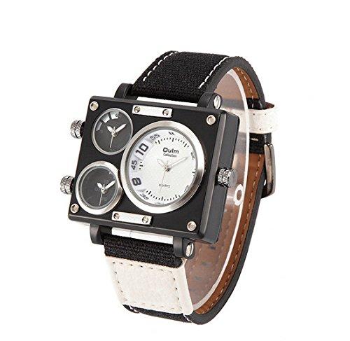 OULM Reloj Marca de lujo hombre tejido PASR quartz-watch – Reloj cuadrado macho múltiples