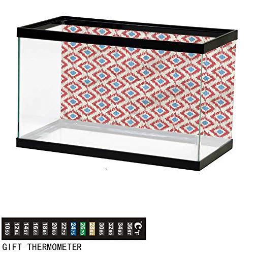 "bybyhome Fish Tank Backdrop Ikat,Diagonal Moire Squares Pattern,Aquarium Background,48"" L X 24"" H(122x61cm) Thermometer Sticker"