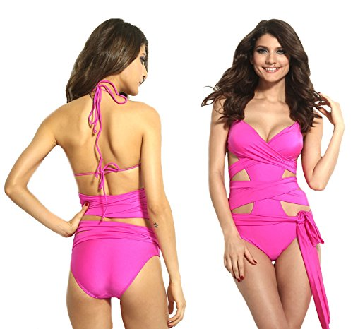 Sexy Women's Swimwear Backless Hollow Out One-piece Swimsuit Pad Bathing Suit (M, Rose Red)