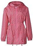 japanese rain - Freesmily Women's Japanese Korean Stylish Super Light Little Dots Rain Poncho Waterproof Rain Coat With Hood and Sleeves (Red, One Size)