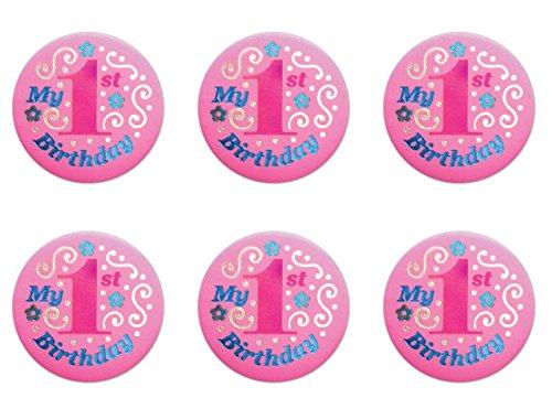 Beistle BN051P 6-Pack My 1st Birthday Satin Button, 2-Inch -