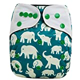 night inserts - HappyEndings Contoured Day or Night AI2 All In Two Cloth Diaper/Snap-in Insert Elephants