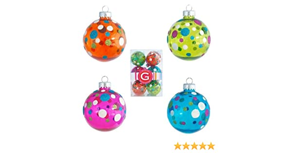 amazoncom glitterville set of 12 glitter sprinkles polka dots christmas tree ball ornament 275 inches pink blue orange lime green home kitchen