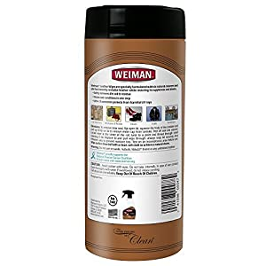 Weiman Leather Wipes - Clean and Condition Car Seats, Shoes, Couches and More - 30 Count (2 Pack)