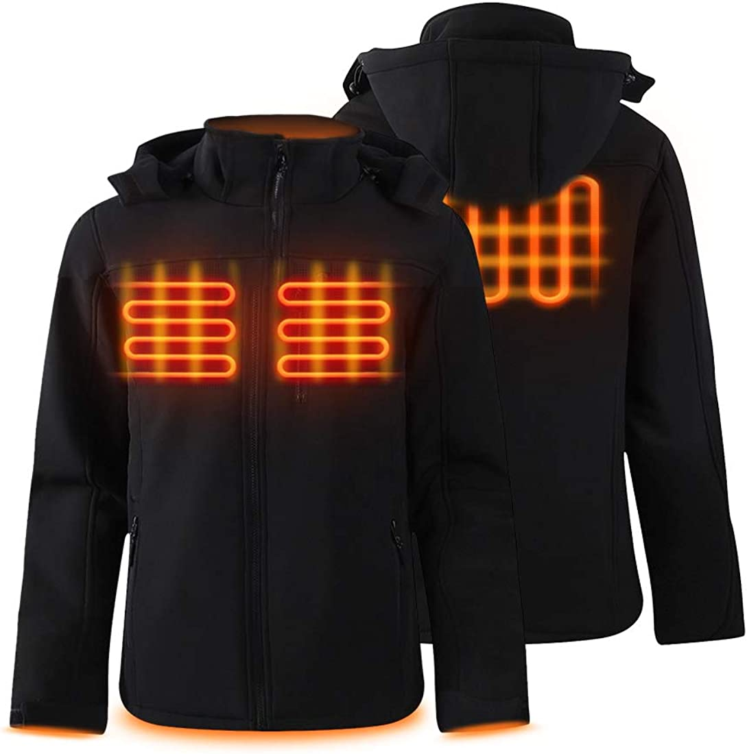 Dr.Qiiwi Electric Padded Mens Heated Jackets for Men with Detachable Hood