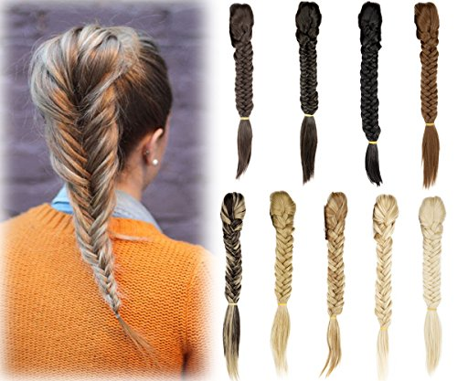 Long Straight Fishtail Plait Braids Synthetic Ponytail Extensions Clip in Ponytail - Womens Braid