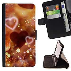 For LG OPTIMUS L90 Love Bokeh Beautiful Print Wallet Leather Case Cover With Credit Card Slots And Stand Function
