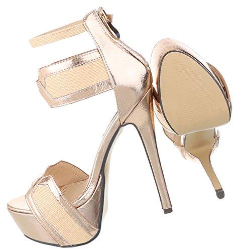 Damen High Heels | Sandaletten Leder-Optik | Plateauschuhe Riemchen | Lack Metallic Stilettos | Plateau Party Schuhe | Sommerschuhe Riemchen Sandaletten | Abiball Pumps | Schuhcity24 | Rosa