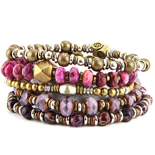BeachBu Designer Jewelry The Westshore Bracelet Set - Pink Crazy Lace Agate, Czech Glass and Purple Impression Jasper with Brass, Silver and Copper, Stretch Cord, Set of 5.