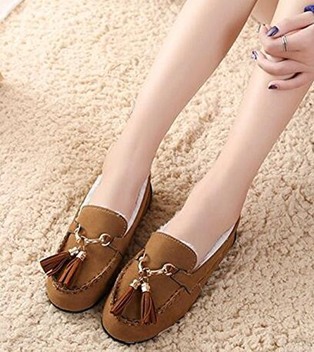 IDIFU Womens Vintage Fringes Faux Suede Fleeced Lined Thick Slip On Loafers Shoes Brown tv4G5EUY0X
