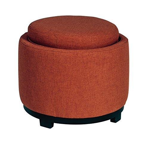 Ashley Furniture Signature Design Menga Ottoman with Storage - Contemporary Style - Brick Red