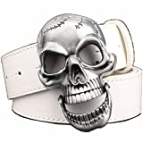 Nicholas Wit Men's Belt Big Skull Belt Metal Buckle Skull Belts Skeleton Rock Belt Performance Hip Hop Girdle White