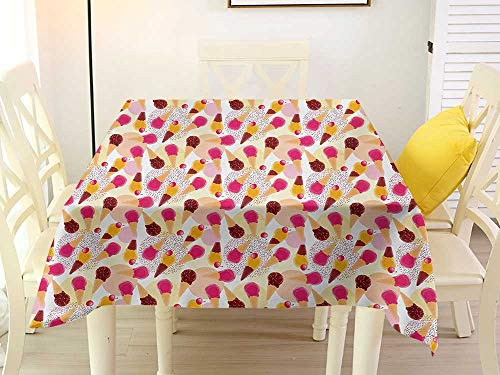 L'sWOW Square Tablecloth Paper Ice Cream Sweet Taste of Summer Theme Chocolate and Fruity Flavor Cherries Circle Sprinkles Multicolor Quilted 54 x 54 Inch