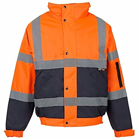 High Visibility Jacket Hi Vis Bomber Jacket Padded Winter Warm Jackets Concealed Hood All Sizes S TO 4XL 3X Large, Orange