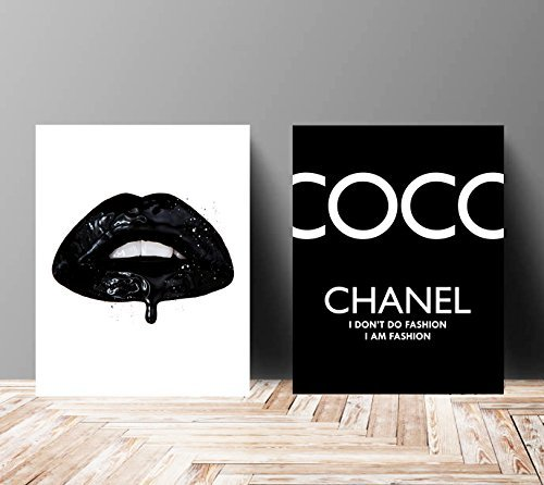 Wall Art Poster Print - Vinyl Kiss Lips COCO CHANEL, Shoes, Book, Handbag Vogue - Famous Fashion Quote - Black Color- 679 (Prada Canvas Handbag)