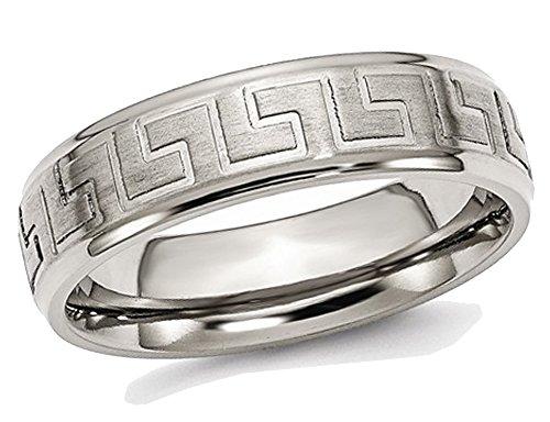 Gem And Harmony Mens Greek Key 6mm Titanium Satin-Polished Wedding Band (Greek Wedding Rings)