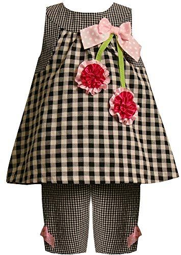 Bonnie Jean Baby Girls 3M-24M Gingham Check Bonaz Cherry Seersucker Capri Set, Black/White, 3/6M