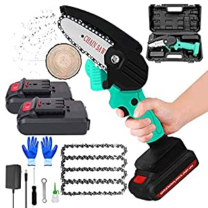 Mini Battery Chainsaw Cordless 4 inch Electric Chainsaw Pruner Kit with 2 Batterie 4 Chain and Charger Handheld Chainsaw…