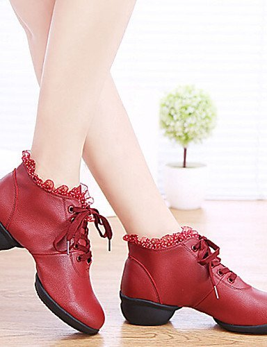 Heel Leatherette Modern Non Salsa Sneakers Burgundy Shoes Customizable Dance Chunky Women's Shangyi Latin White Red Black zP0qR