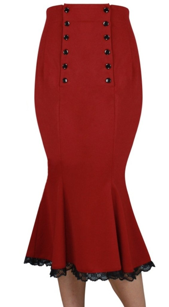 (XS-28) Power Broker - 30s 40s Lace Pencil Midi Vintage Style Skirt (MD, Red)