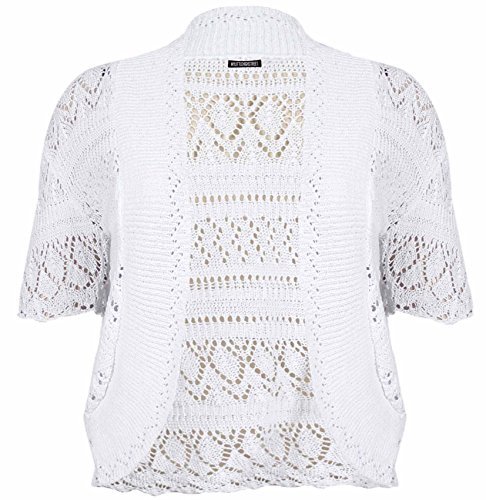 PurpleHanger Women's Plus Size Crochet Shrug Bolero Open Cardigan White 18-20