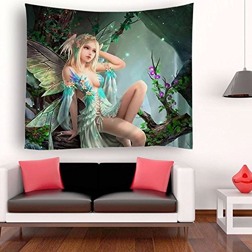 SARA NELL Tapestry Sexy Forest Flower Fairy Tapestries Wall Art Hippie Bedroom Living Room Dorm Wall Hanging Throw Tablecloth Bedspread - Sexy Art Fairy
