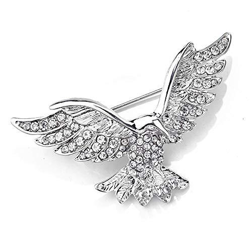 - MIXIA Eagle Bird Brooches Pin for Women/Men Fashion Full Rhinestone Animal Brooch Jewelry (Silver)