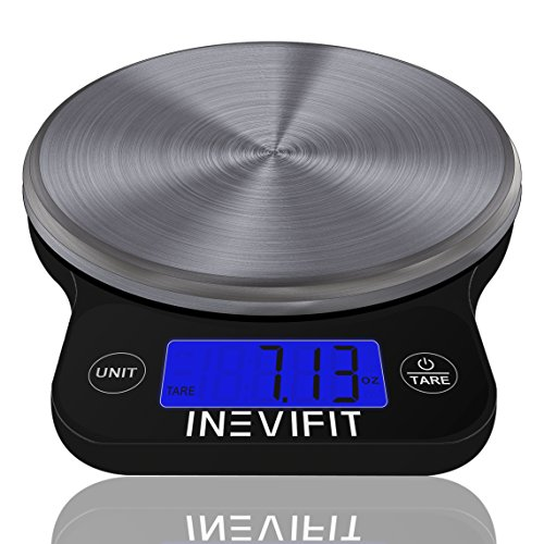 INEVIFIT DIGITAL KITCHEN SCALE, Highly Accurate Multifunction Food Scale 13 lbs 6kgs Max, Clean Modern Black with Premium Stainless Steel Finish. Includes Batteries & 5-Year Warranty (Scale Nutrition Digital)