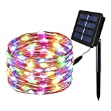 Solar String Lights,Solarmks 150 LED Fairy Lights 8 Mode Flexible Multi-Colored Copper Wire Lights, Waterproof Outdoor String Lights for Patio Garden Yard Window Christmas Xmas Tree Decorative