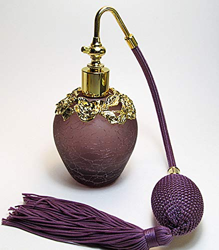 Alice-Aliya Vanity Size Perfume Atomizer Bottle with Gold Flowers and Purple (Lavender) Squeeze Bulb and Tassel Spray mounting.