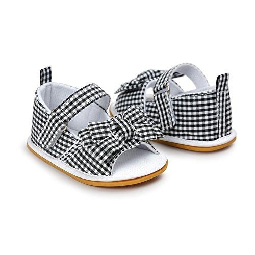BOBORA Bebe Primeros Zapatos De Caminar Ni?as Infantiles Princesas Sandalias Con Bowknot negro