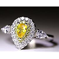 A.TATOON 3ct Pear Cut Yellow Topaz White CZ Band 925 Silver Womens Wedding Ring (6)