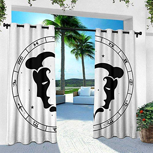 Zodiac Gemini, for Patio Light Block Heat Out Water Proof Drape,Zodiac Wheel with Twelve Signs Abstract Male Portraits with Stars Tattoo, W108 x L108 Inch, Black and White